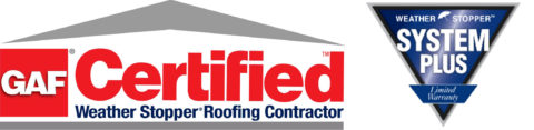 GAF certified and weather system plus warranty logos for flat roofing contractors